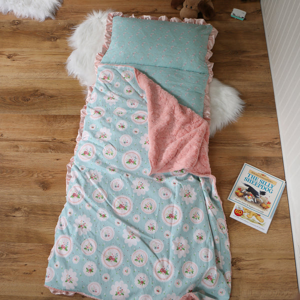 Mint Floral Cameo Nap Mat Roll Up