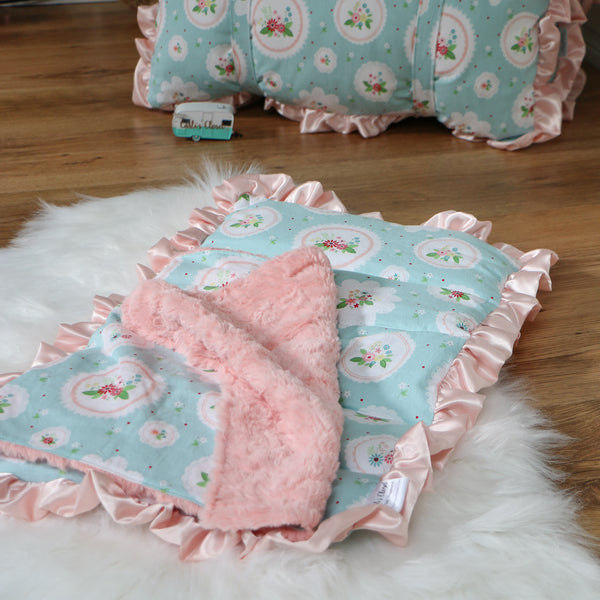 Mint Floral Cameo Nap Mat Roll Up Set and Backpack