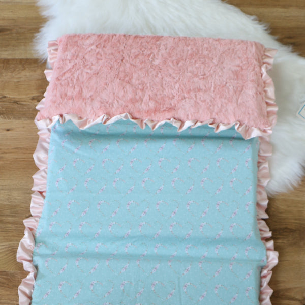 Mint Floral Cameo Nap Mat Cover Set
