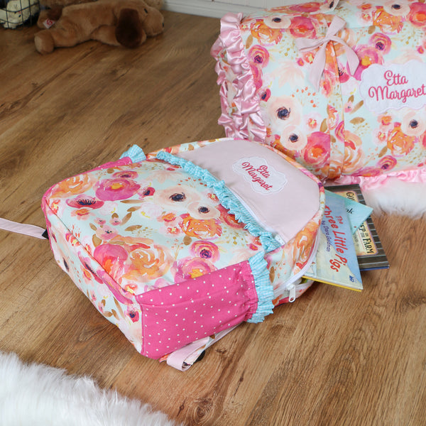 Pink Floral Nap Mat Roll Up, Lunchbox and Backpack