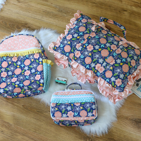 Navy Floral Nap Mat Roll Up, Lunchbox and Backpack