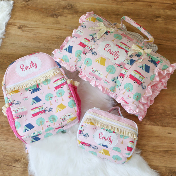 Glamping Nap Mat Roll Up, Lunchbox and Backpack