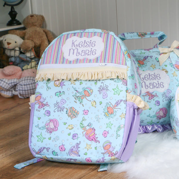 Mermaid Nap Mat Roll Up, Lunchbox and Backpack
