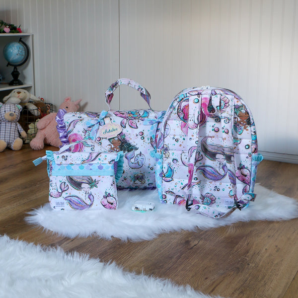 Narwhal Nap Mat Roll Up, Lunchbox and Backpack