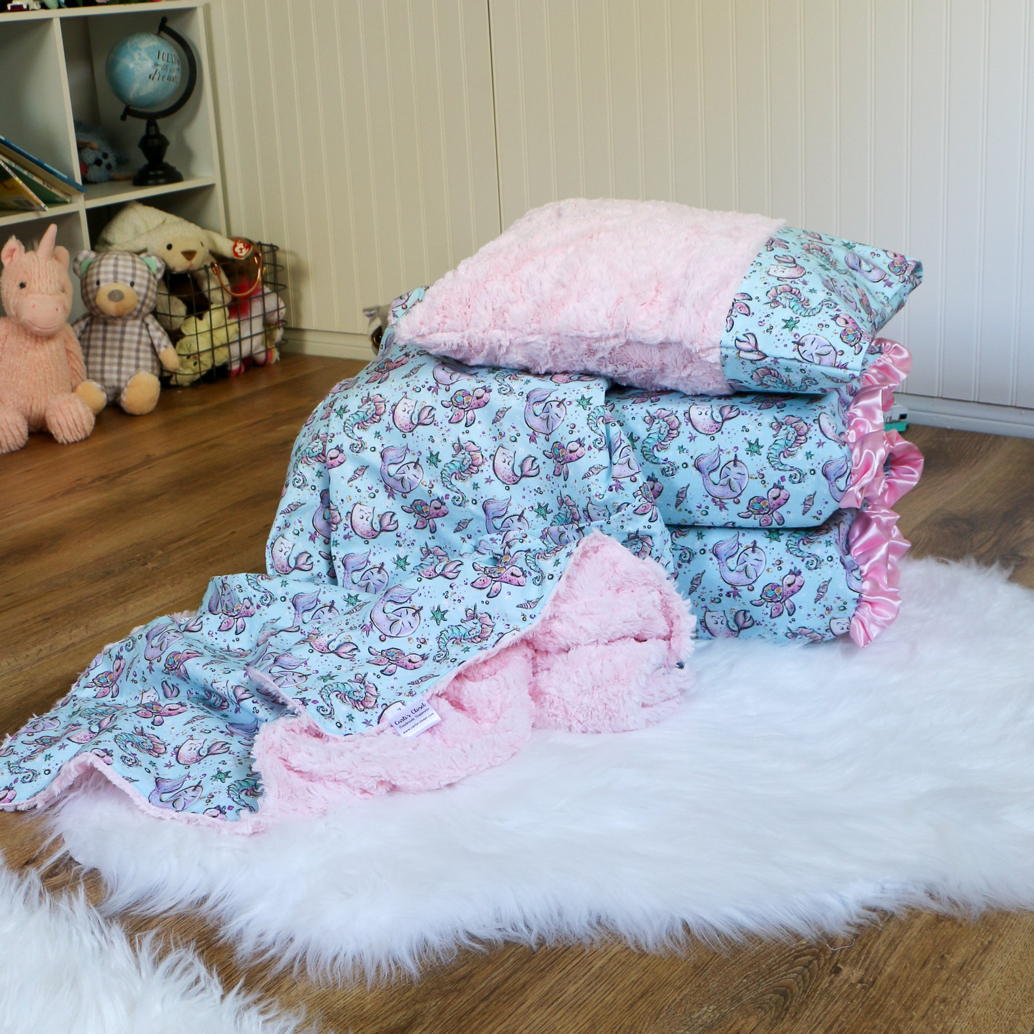 Narwhal Pink Nap Mat Cover Set