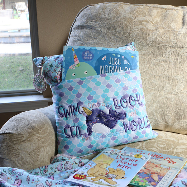 Narwhal Book Pillow