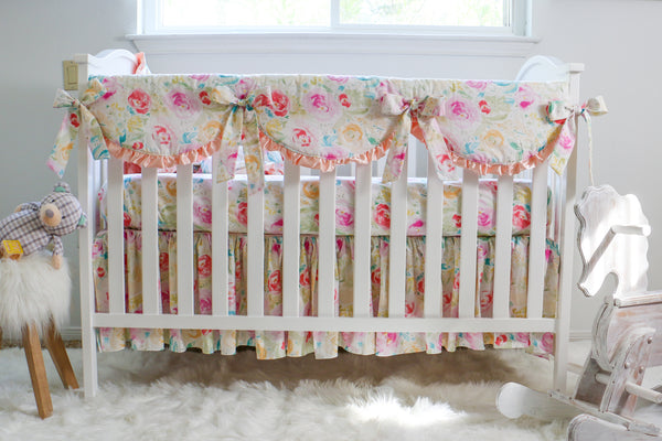 Watercolor Floral Crib Bedding
