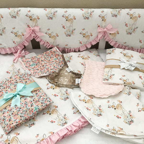 Floral Fawn baby bedding collection - Carli's Closet