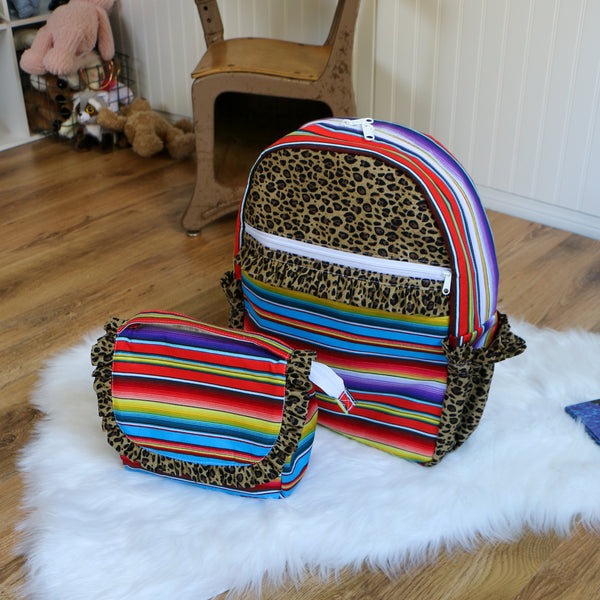 Serape Cheetah Print Backpack and Lunchbox