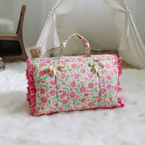 Pink Floral Rose Nap Mat Roll Up
