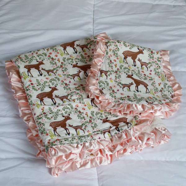 Fawn Receiving Blanket and Burp Cloth Gift for Baby Girl - Carli's Closet