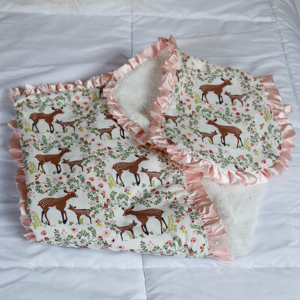 Woodland Girls Blanket and Burp Cloth Gift Set - Carli's Closet