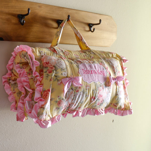 Pink and Yellow Floral Nap Mat Roll Up - Carli's Closet