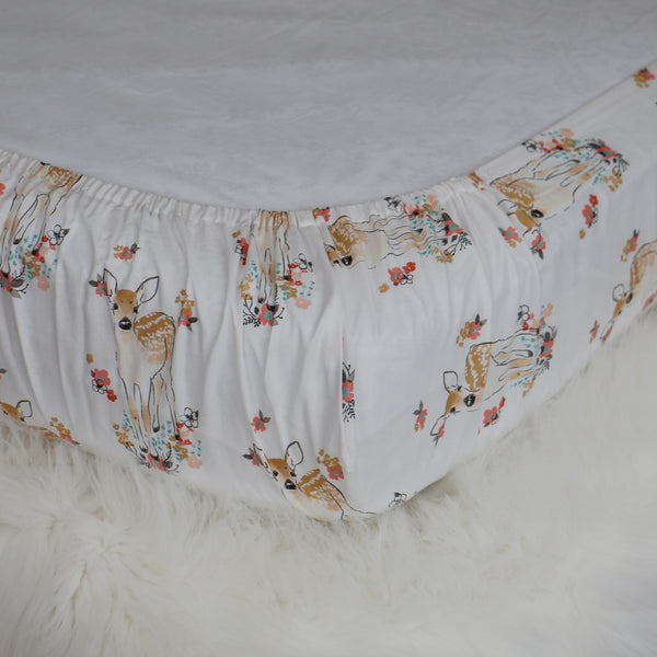 Floral Fawn Fitted Crib Sheet - Carli's Closet