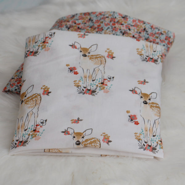 Floral Meadow Fawn Crib Sheet - Carli's Closet