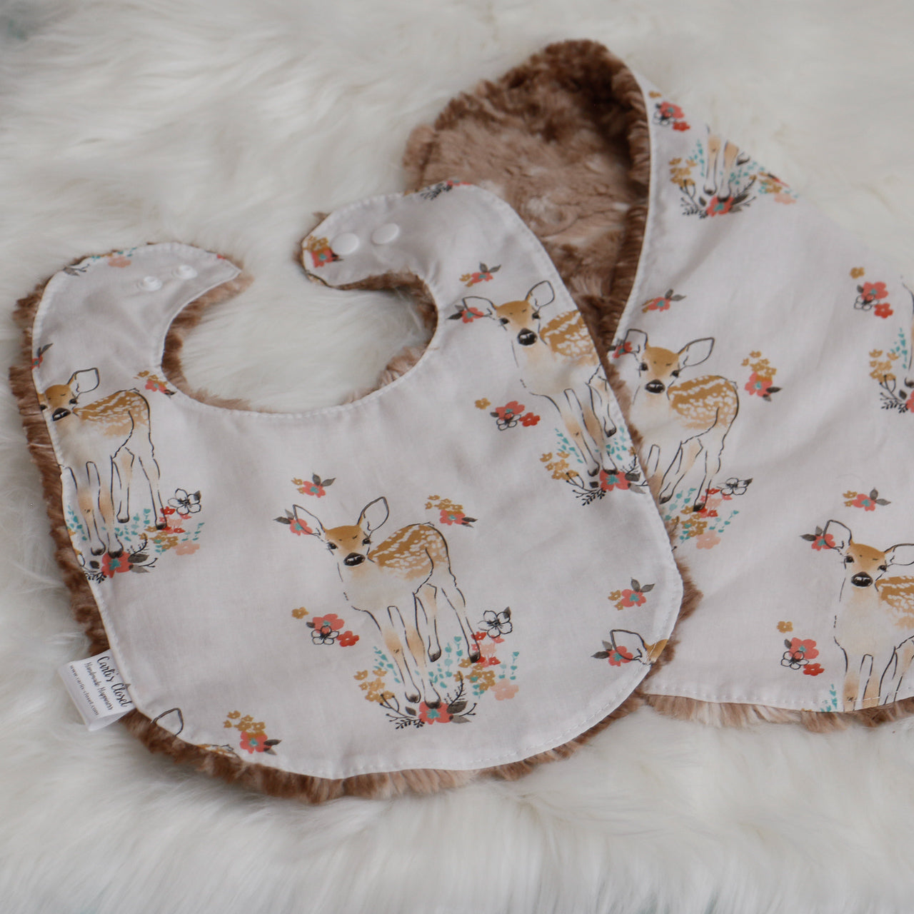 Floral Fawn Bib and Burp Cloth Set Carli's Closet