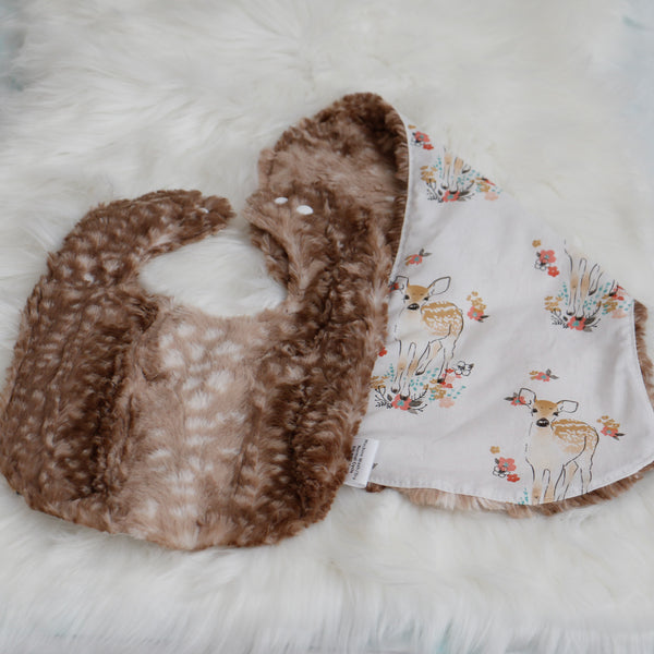 Faux Fur Fawn Bib and Burp Cloth Set Carli's Closet