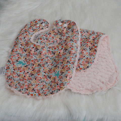 Floral Meadow Bib and Burp Cloth Set Carli's Closet