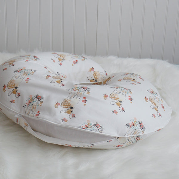 Floral Fawn Boppy Pillow Cover with zipper- Carli's Closet