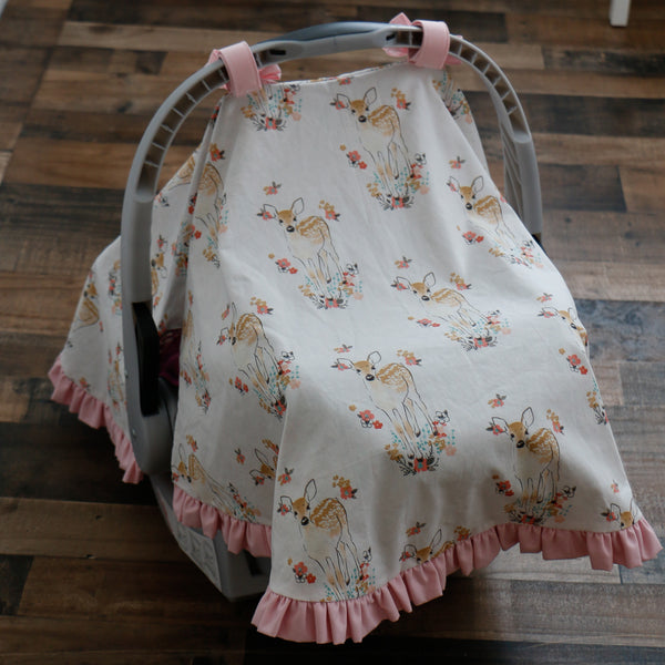 Floral Fawn Car Seat Cover back view - Carli's Closet