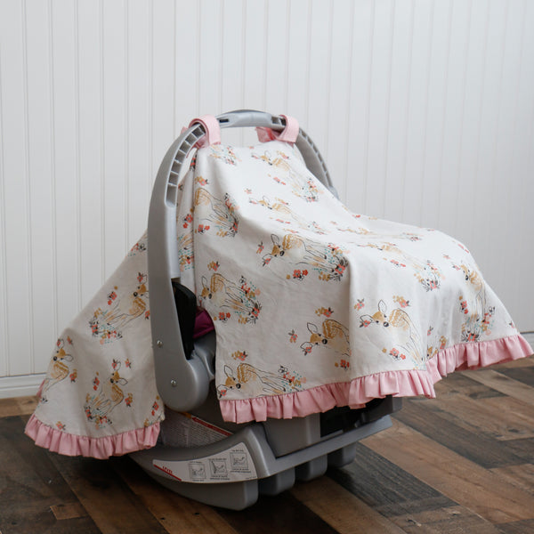 Floral Fawn Infant Car Seat Cover - Carli's Closet