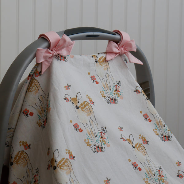 Floral Fawn Car Seat Canopy with pink bows - Carli's Closet