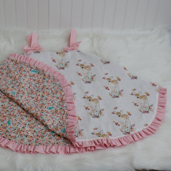 Pink Floral Fawn Car Seat Cover - Carli's Closet