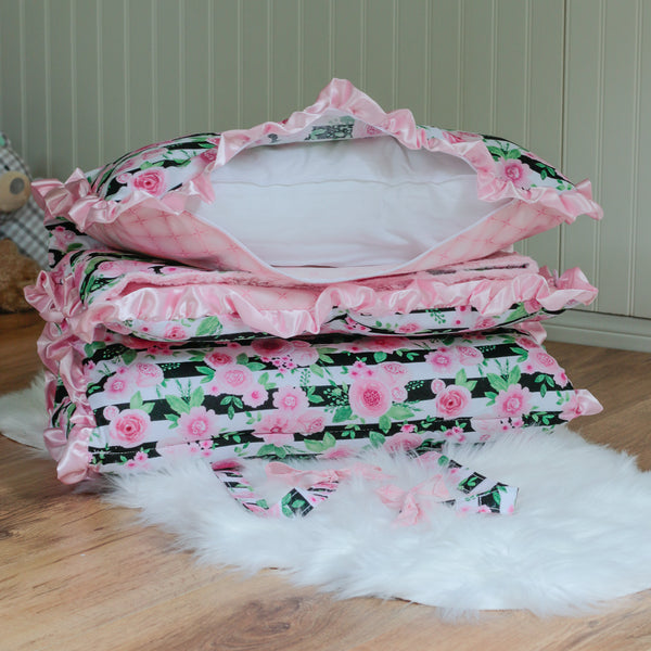 Pink Floral Striped Nap Mat Roll Up
