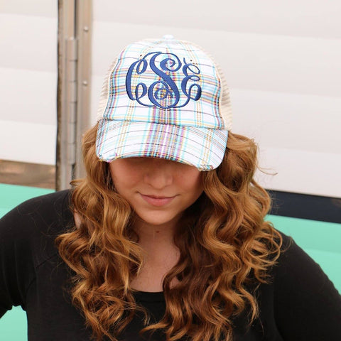 Monogrammed Plaid Trucker Hat