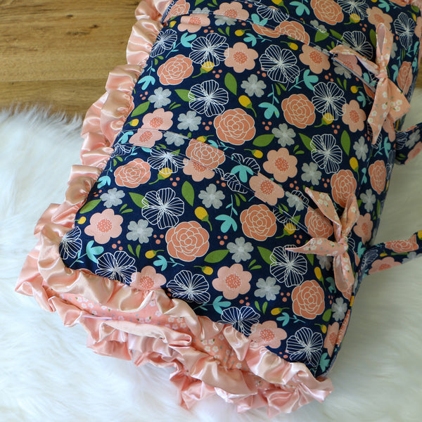 Navy Floral Nap Mat Roll Up