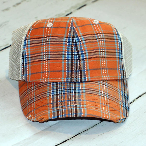 Monogrammed Plaid Trucker Hat - Carli's Closet