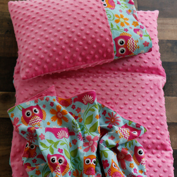 Pink Owl Nap Mat Cover with Blanket and Pillow Carli's Closet