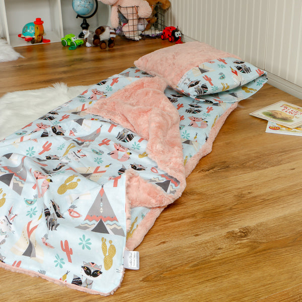 Woodland Animals nap mat with blanket and pillow handmade by Carli's Closet
