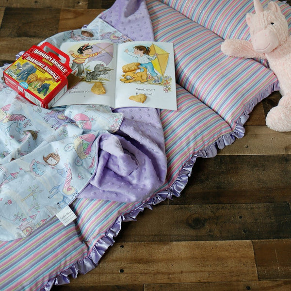 Unicorn Nap Mat Roll Up, Lunchbox and Backpack