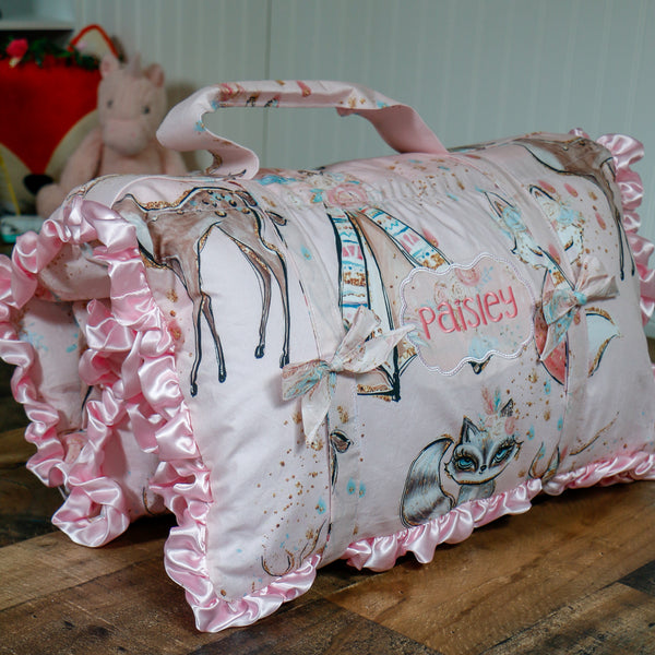 Woodland Fawn Floral Nap Mat Roll Up - Carli's Closet