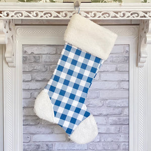 Blue Buffalo Plaid Christmas Stocking