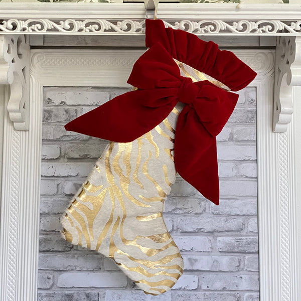 Women's Cowhide Christmas Stocking