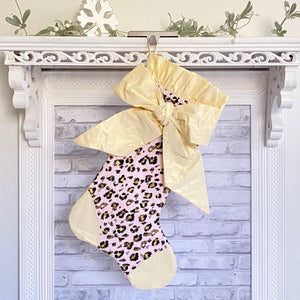 Gold Leopard Christmas Stocking