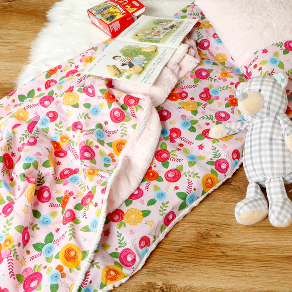 Preschool nap mat cover with blanket and pillow case handmade by Carli's Closet