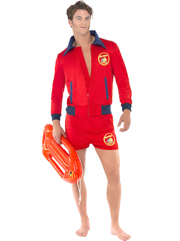 Baywatch lifeguard outfit with inflatable board