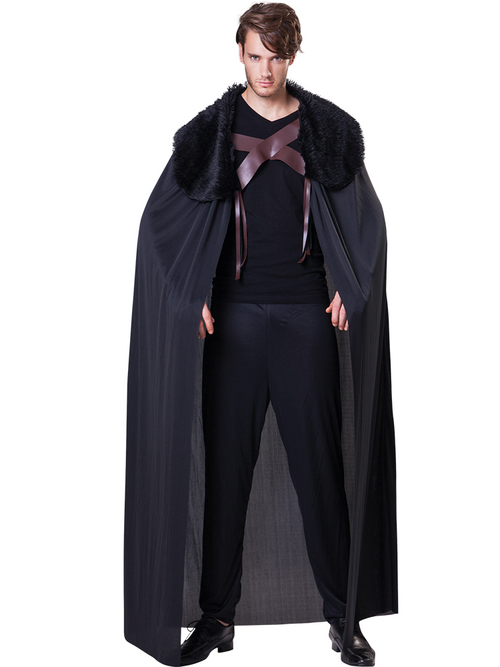 Black Fur Collared Cape - Costume