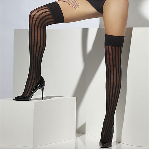Black Striped Stockings - Hold Ups