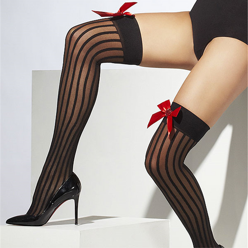 Black Striped Stockings with Red Bows