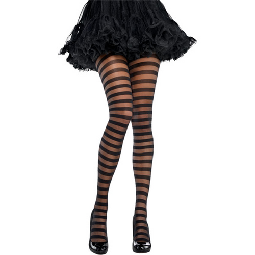 Black Striped Tights - Women's Halloween Tights - One Size