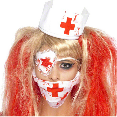 Bloody Nurse Kit - Women's Headpiece, Face Mask & Eyepatch