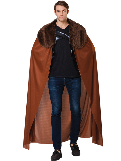Brown Fur Collared Cape - Costume