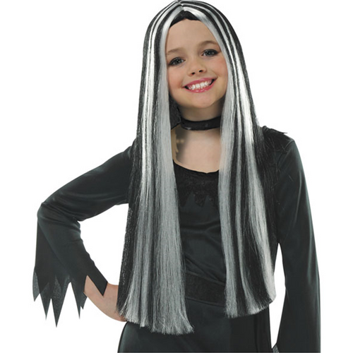 Child's Old Witch Wig - Girls Black & Grey Halloween Wig