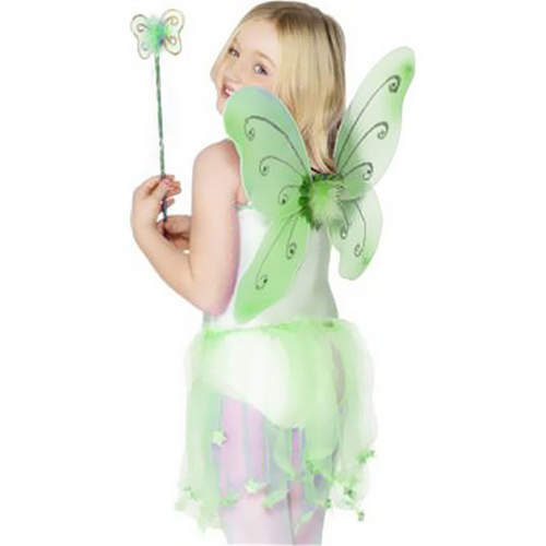 Children's Green Glitter Fairy Wings & Wand