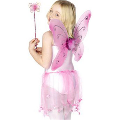 Children's Pink Glitter Fairy Wings & Wand