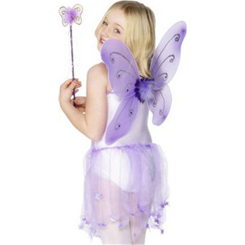 Children's Purple Glitter Fairy Wings & Wand
